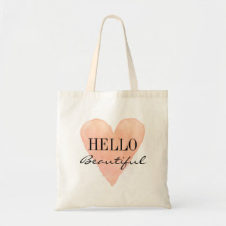 HELLO BEAUTIFUL coral pink love heart tote bag