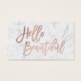 Hello beautiful faux rose gold chic script marble