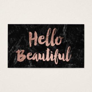 Hello Beautiful faux rose gold script black marble