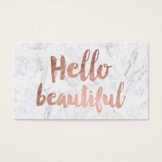 Hello beautiful faux rose gold typography marble