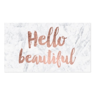 Hello beautiful faux rose gold typography marble pack of standard business cards