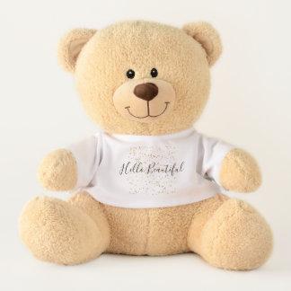 Hello Beautiful Gold Confetti Teddy Bear