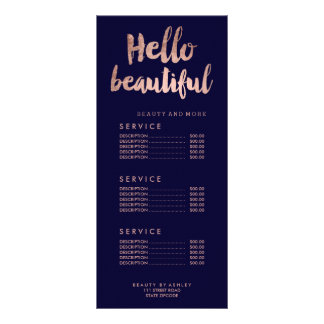 Hello beautiful gold typography navy price list rack card