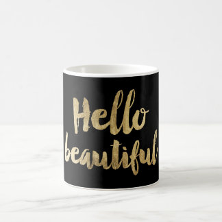 Hello beautiful modern chic faux gold typography coffee mug