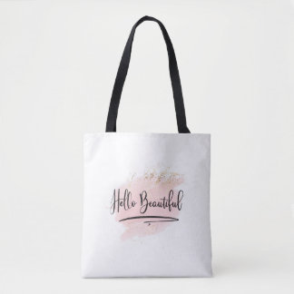 Hello Beautiful Pink Watercolor Bag