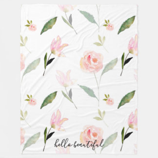 Hello Beautiful Pink Watercolor Floral Fleece Blanket