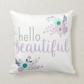 Hello Beautiful Pretty Pastel Floral Cushion