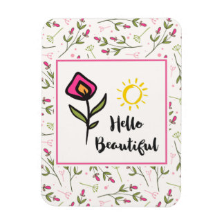 Hello Beautiful Pretty Pink Orange Wildlflower Rectangular Photo Magnet