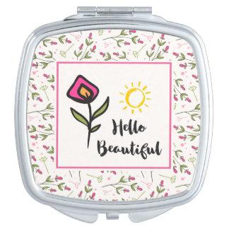 Hello Beautiful Pretty Pink Orange Wildlflower Travel Mirror