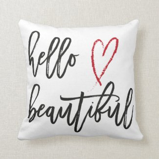 Hello Beautiful Red Heart Brush Stroke Cushion