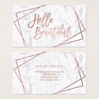 Hello beautiful rose gold script geometric marble business card