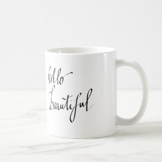 Hello Beautiful Simple Typography Script Basic White Mug