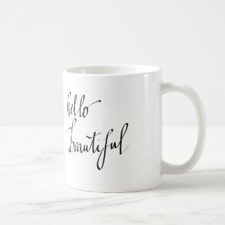 Hello Beautiful Simple Typography Script Basic White Mug