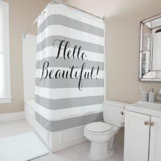 Hello, Beautiful Striped Shower Curtain