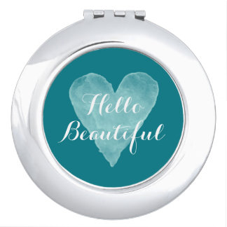 Hello Beautiful turquoise travel compact mirror