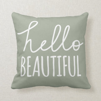 Hello Beautiful Typography Whimsical Girly Grey Throw Pillow