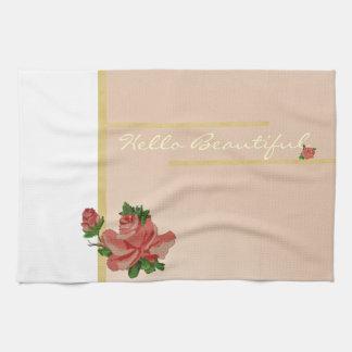 Hello Beautiful Vintage Rose Towel