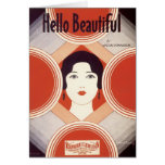 Hello Beautiful Vintage Songbook Cover Greeting Card