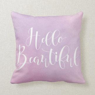 "Hello Beautiful Watercolor 16"" x 16"" Throw Pillow"