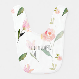 Hello Beautiful Watercolor Floral Bib
