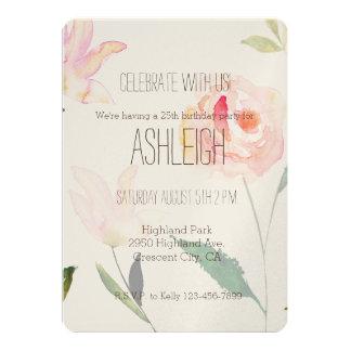 Hello Beautiful Watercolor Floral birthday 13 Cm X 18 Cm Invitation Card