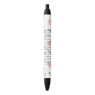 Hello Beautiful Watercolor Floral Black Ink Pen