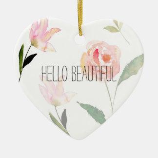Hello Beautiful Watercolor Floral Ceramic Heart Decoration