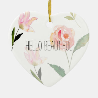 Hello Beautiful Watercolor Floral Christmas Ornament