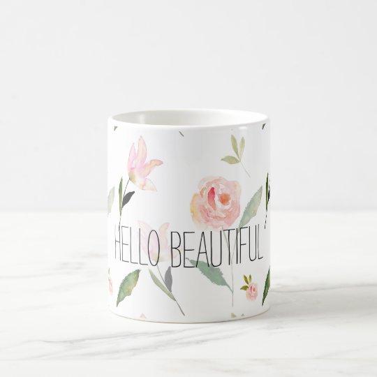 Hello Beautiful Watercolor Floral Coffee Mug