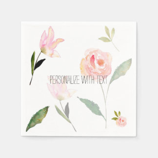 Hello Beautiful Watercolor Floral Disposable Napkin