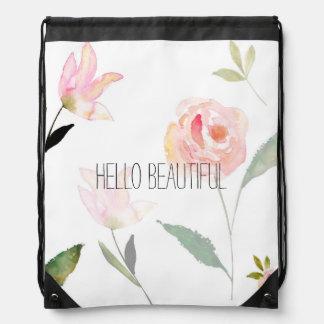 Hello Beautiful Watercolor Floral Drawstring Bag
