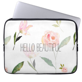 Hello Beautiful Watercolor Floral Laptop Sleeve