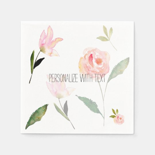 Hello Beautiful Watercolor Floral Paper Napkins