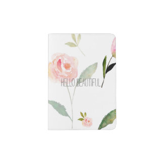Hello Beautiful Watercolor Floral Passport Holder