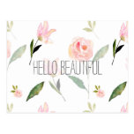Hello Beautiful Watercolor Floral Postcard