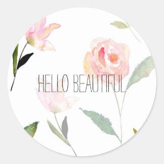 Hello Beautiful Watercolor Floral Round Sticker
