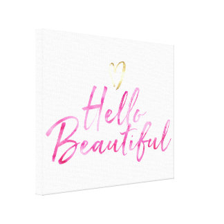 Hello Beautiful with Gold Heart Canvas Print