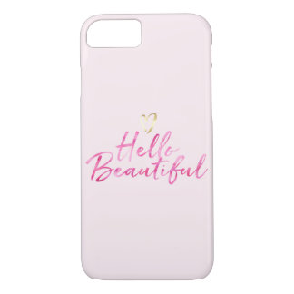 Hello Beautiful with Gold Heart iPhone 8/7 Case