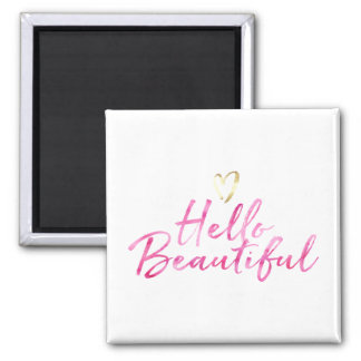 Hello Beautiful with Gold Heart Magnet