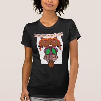 """""""Hello Beaverpuff Girl"""" Ladies Chocolate Ringer T-shirts"""
