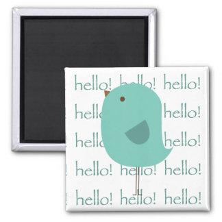 Hello Bird Square Magnet