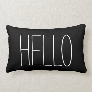 Hello Black and White Typography Quote Lumbar Pillow