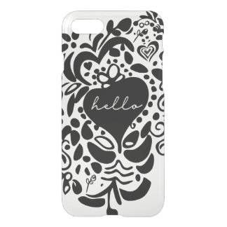 """Hello"" Black solid hearts, leaves pattern iPhone 8/7 Case"
