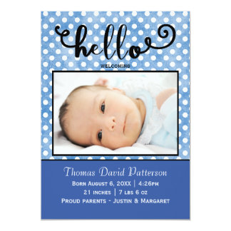 hello blue dots/blue photo - Birth Announcement