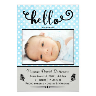 hello blue dots/grey photo - Birth Announcement