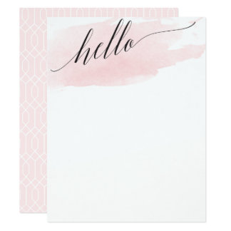 Hello Blush Watercolor Blank Stationery Card