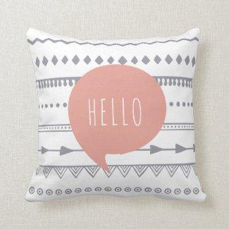 'Hello' Boho Style Throw Cushion