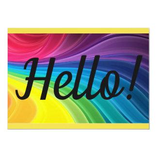 Hello Card Bright Happy Rainbow Birthday or Any