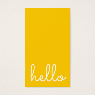 Hello   Casual Modern White & Yellow Business Card