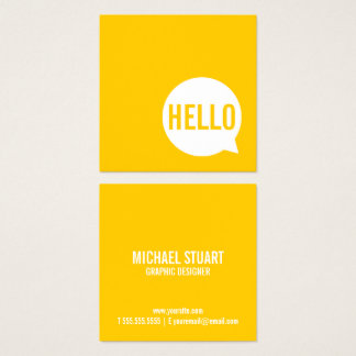 Hello   Casual Modern White & Yellow Speech Bubble Square Business Card
